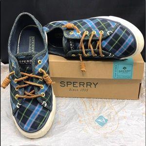 Sperry Blue Plaid Boyfriend Canvas Sneakers w/ Box